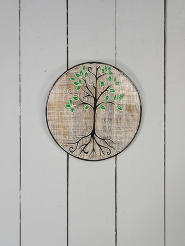 Round Wooden Tree of Life Wall Plaque