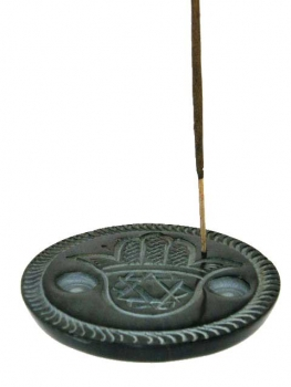 Incense burner for sticks & 2 cones -with Hebru Hand symbol