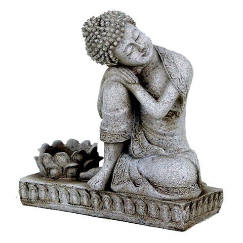 Grey Buddha With Candleholder