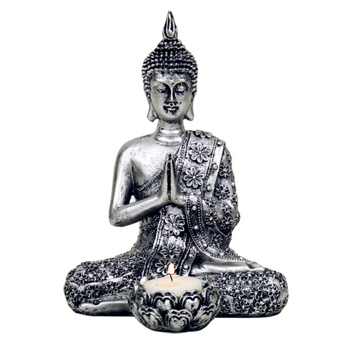 Sitting Silver Buddha with candleholder