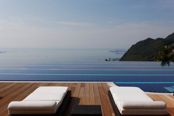 Lefay Resort poolside with Chai
