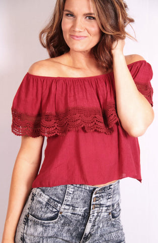 Cinco de Gameday Top - Burgundy