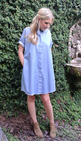 Denim Shirt Dress - Chambray
