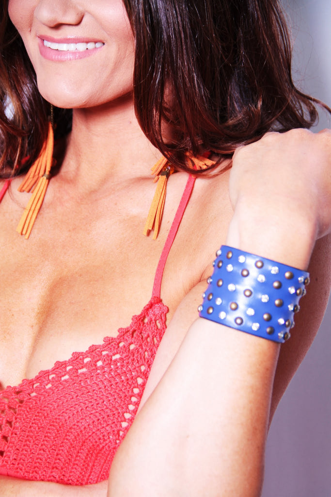 Leather Studded Cuff - Blue - Worn & Raised