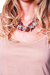 Beaded Glass Statement Necklace - Burgundy/Gold/Multi - Worn & Raised  - 1