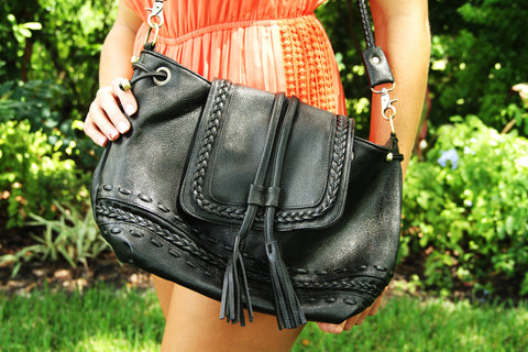 Large Weaved Purse with Tassels - Black