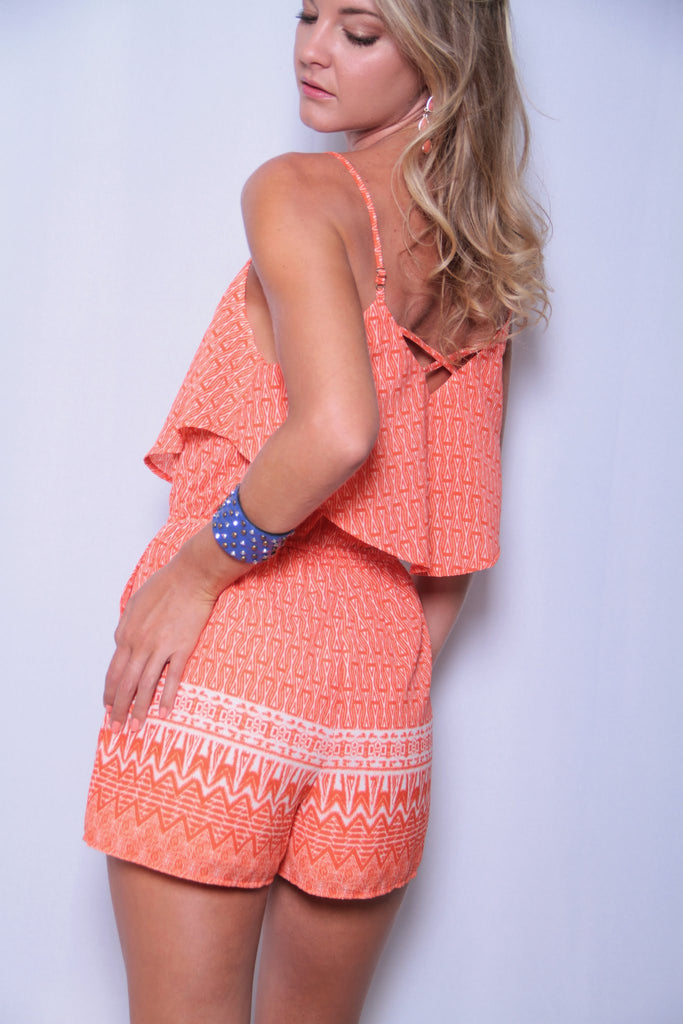 Orange You Glad Romper - Orange - Worn & Raised  - 1