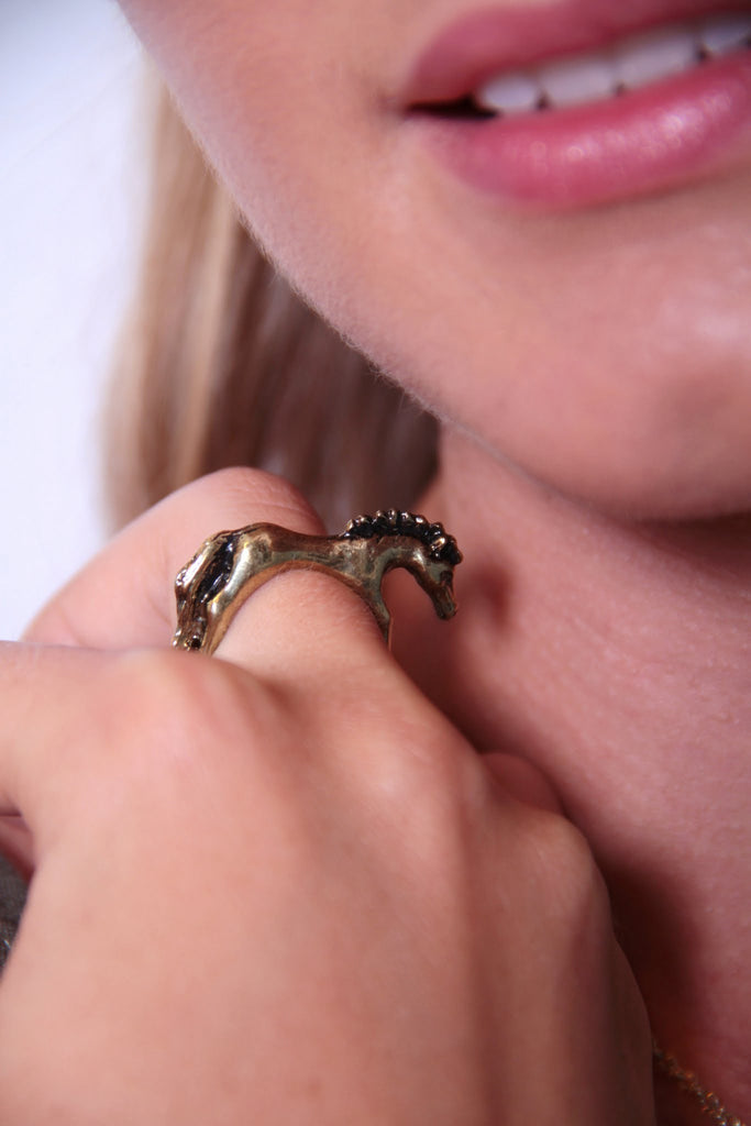 Hot to Trot Horse Ring - Brushed Gold - Worn & Raised  - 1