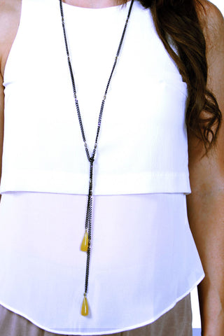 Lariat Drop Necklace - Black/Yellow