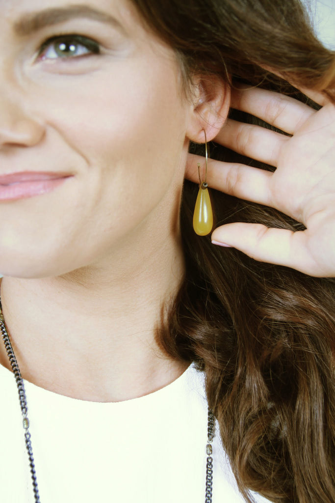 Drop Hoop Earrings - Gold - Worn & Raised