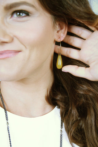 Drop Hoop Earrings - Gold