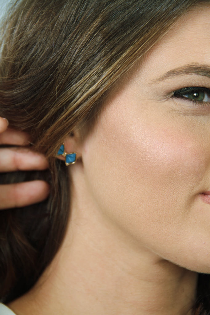 Bow Stud Earrings - Blue - Worn & Raised