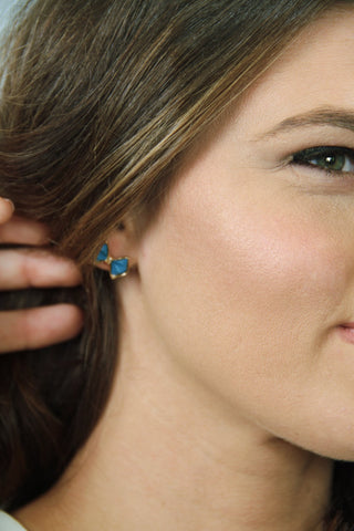Bow Stud Earrings - Blue