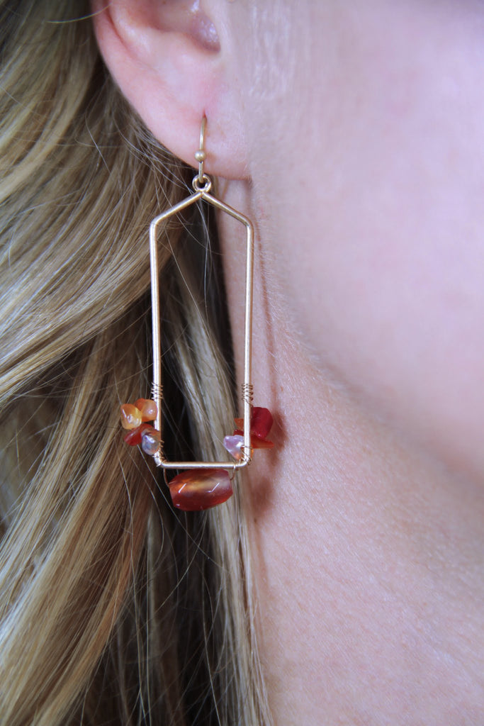 Drop Earrings with Semi Precious Stones - Gold/Rust - Worn & Raised