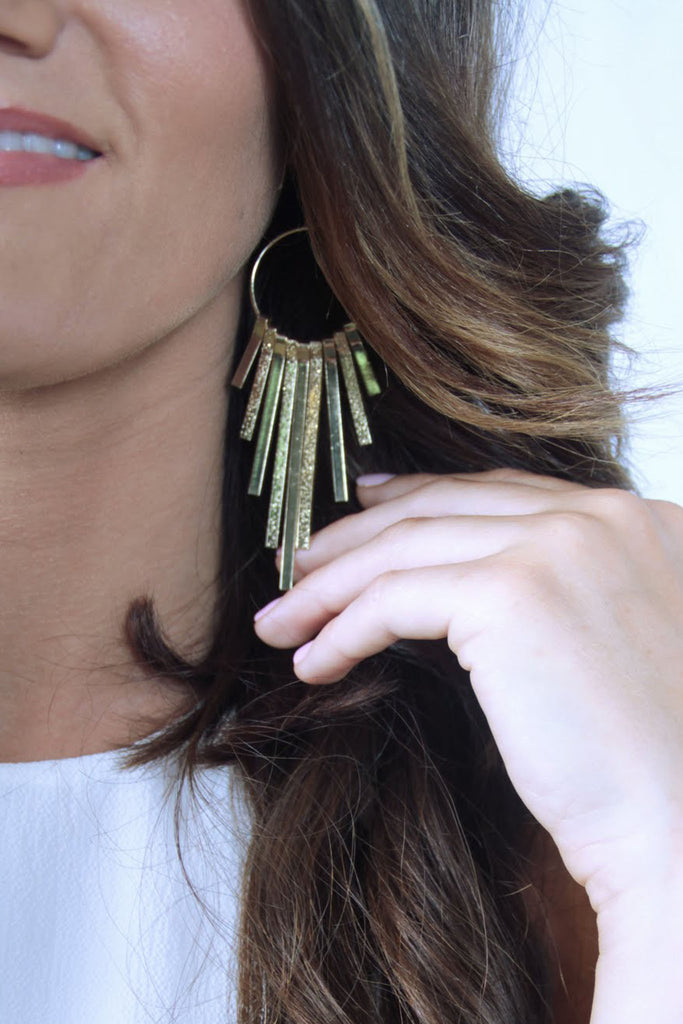 Drop Bar Dangle Earrings - Gold - Worn & Raised