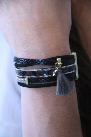 Genuine Leather Tassel Bracelet - Black