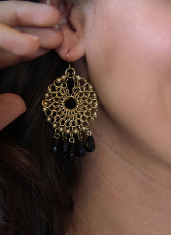 Chain Hoop Earrings with Crystals - Gold/Black