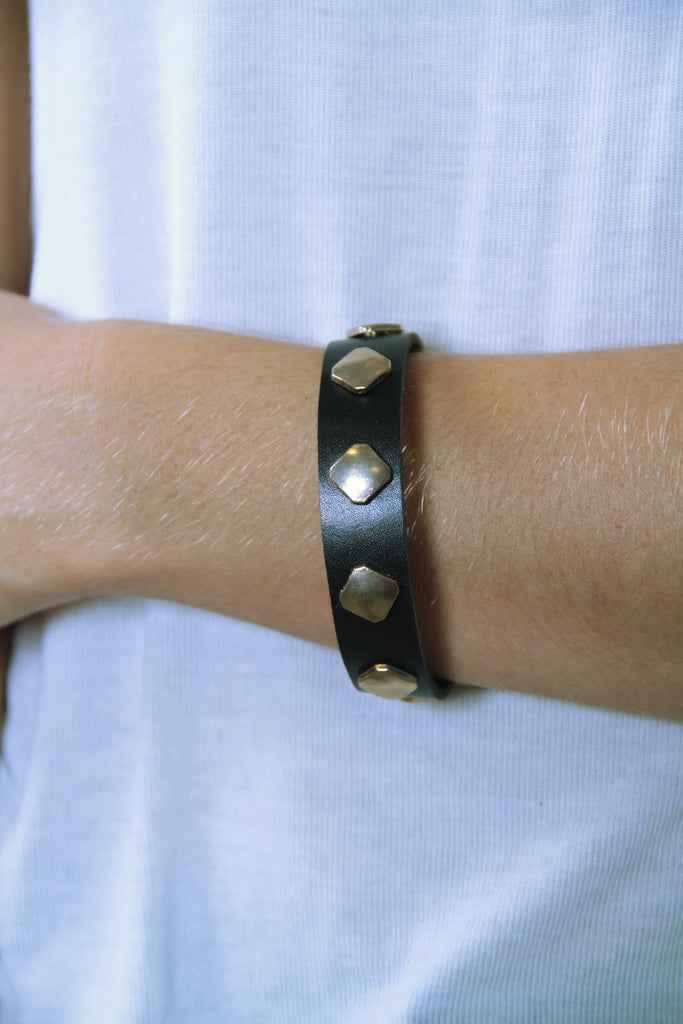 Leather Bracelet with Gold Metal Detail - Black - Worn & Raised