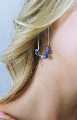 Drop Earrings with Semi Precious Stones - Gold/Blue