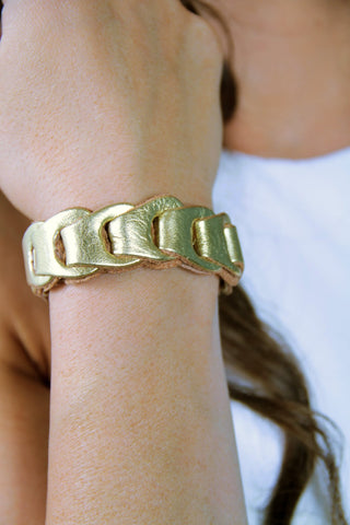 Metallic Leather Woven Bracelet - Gold