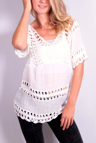 Knit Whit Top - White