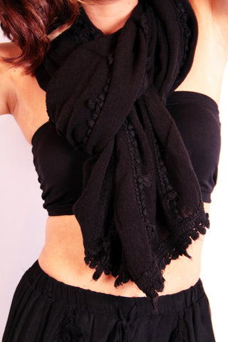 Luxe Bauble Trimmed Scarf - Black