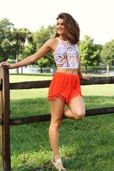 Shake Your Pom Poms Shorts - Orange - Worn & Raised  - 2
