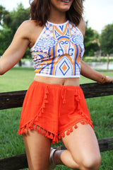 Shake Your Pom Poms Shorts - Orange - Worn & Raised  - 1