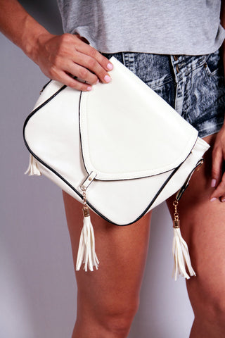 Crossbody Purse with Tassels - Off-White