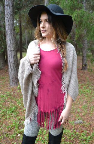 Frayed Shrug Poncho - Sand