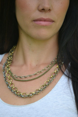 Multi-Chain Layered Necklace - Brushed Gold/Silver/Multi