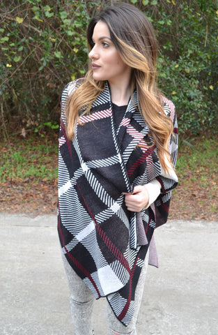 Plaid Poncho - Black