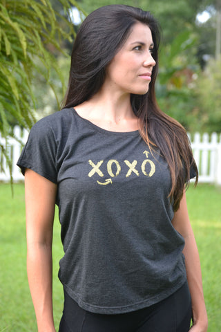 XOXO Football Play Dolman Tee - Vintage Black