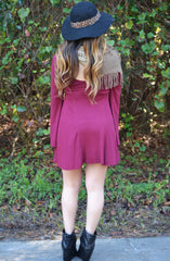 Home Sweet Home Dress - Burgundy - Worn & Raised  - 2