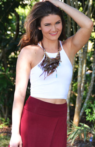 Cheerleader Crop Top - White