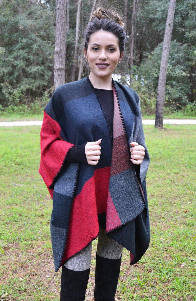 Color Block Sleeved Poncho - Navy - Worn & Raised  - 1