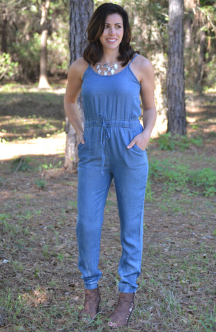 Talk of the Town Jumpsuit - Denim