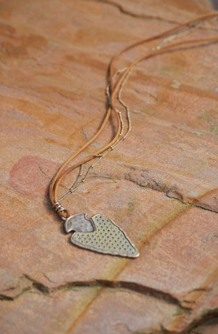 Hammered Arrow Necklace - Silver/Multi