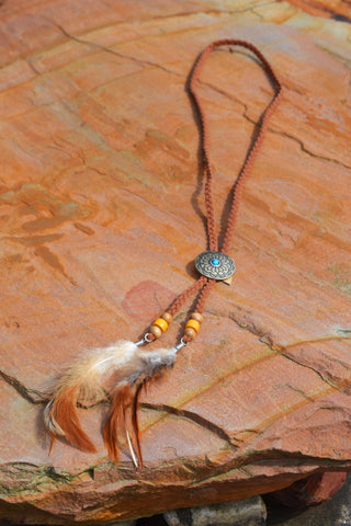 Braided Feather Lariat Necklace - Brown
