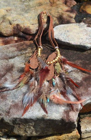 Feather Statement Necklace - Brown/Multi
