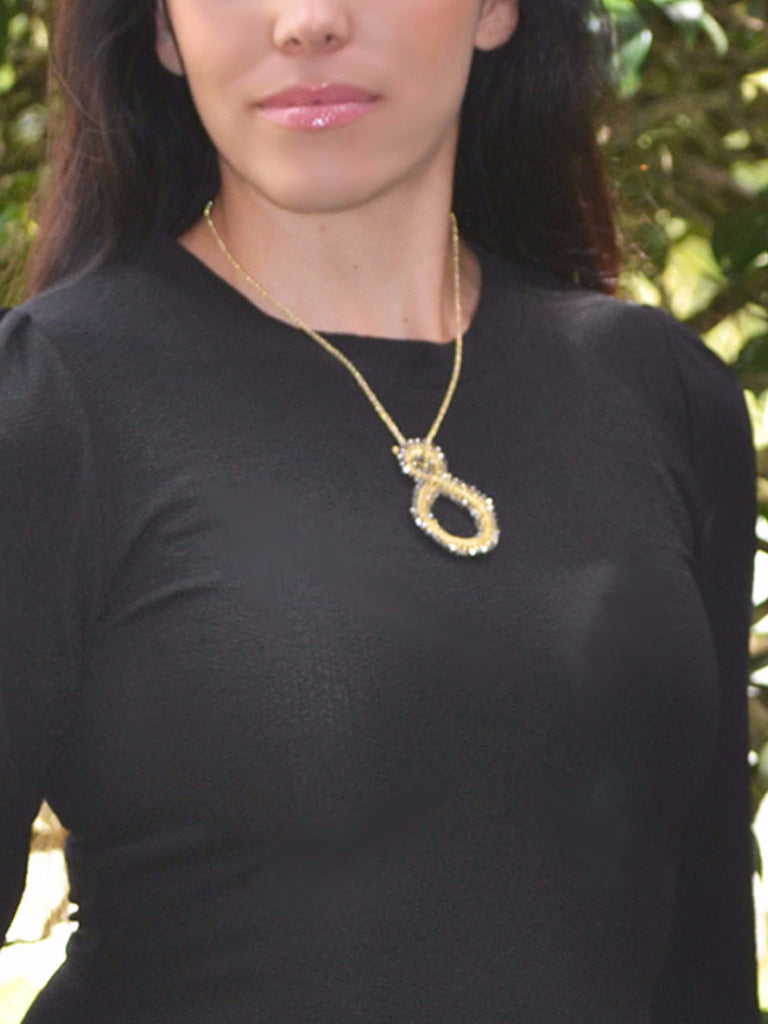 Looped Wire Beaded Necklace - Gold/Silver – Worn & Raised