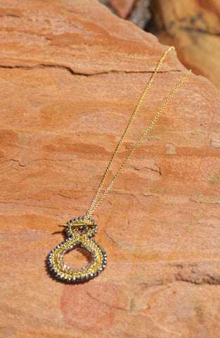 Looped Wire Beaded Necklace - Gold/Silver