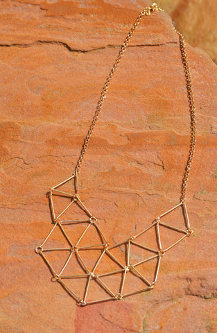 Geometric Statement Necklace - Gold