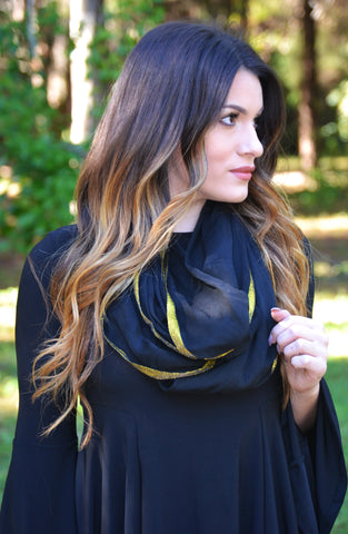 Gold Trimmed Scarf - Black