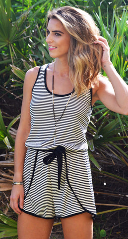Good Call Romper - Black/White