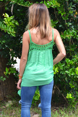 Playing the Field Top - Green - Worn & Raised  - 2