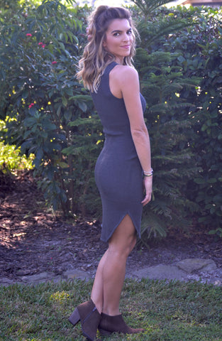 Can't Hold Back Dress - Charcoal