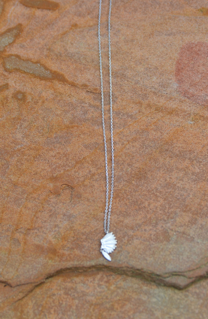 Headdress Necklace with Feather Charm - Silver - Worn & Raised