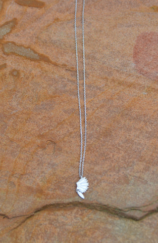 Headdress Necklace with Feather Charm - Silver