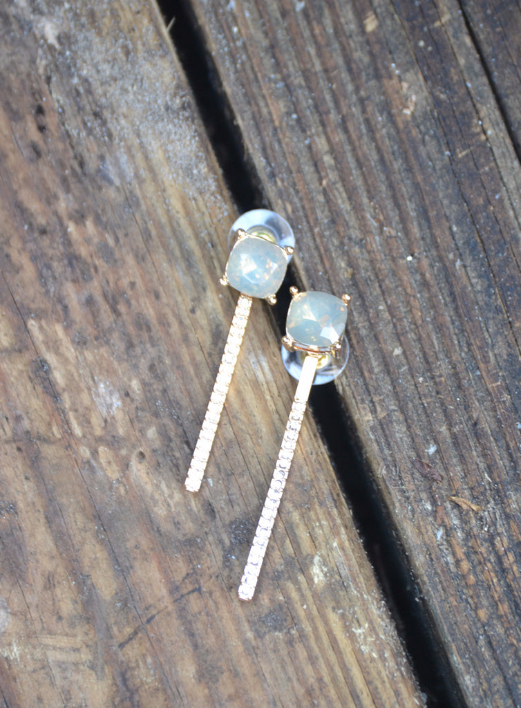 Crystal Bar Drop Earrings - Topaz - Worn & Raised